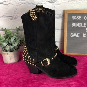 Betsey Johnson Yendell Spiked Leather Heeled Boot